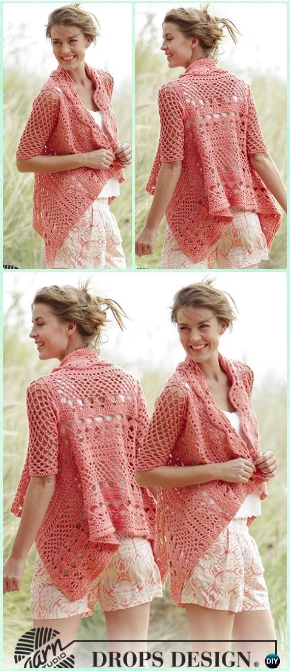 Crochet Peach Dream Lace Square Jacket Free Pattern - Crochet Granny Square Jacket Coat Free Patterns