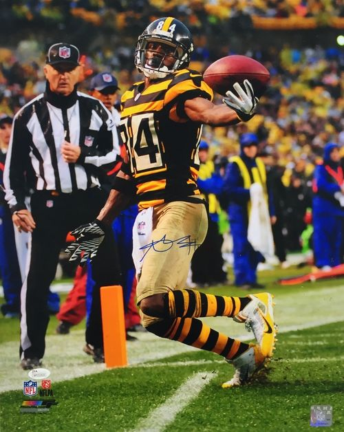 Featured is an Antonio Brown autographed 16x20 photo. This photo is certified by JSA and comes with their hologram and certificate of authenticity.