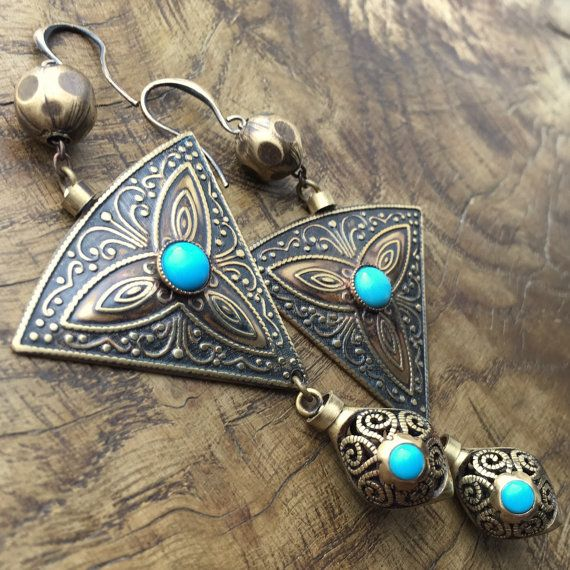 Arizona turquoise Bohemian triangle & teardrop by lecoupdegrace