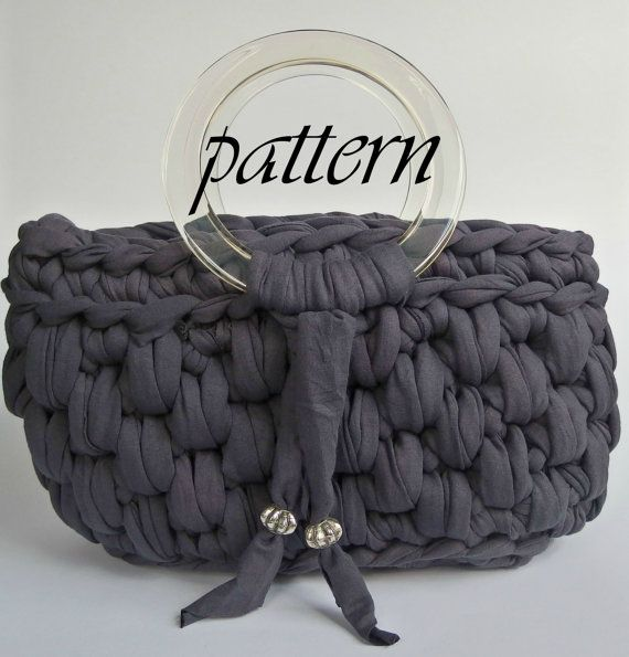 Crochet pattern t shirt yarn handbag with by PatriceCrochetDesign