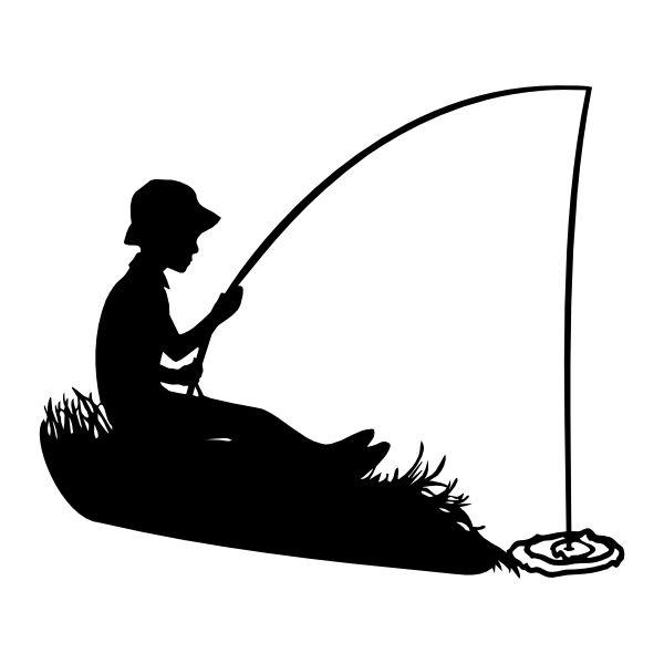 Рыбак с удочкой и с рыбой картинка
