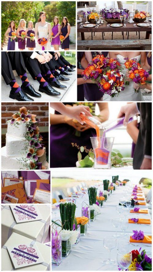 purple and orange wedding color theme ideas *the orange is growing on me with the dark purple...*