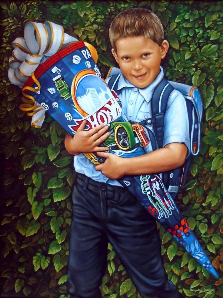 Portret dziecka, Czas do szkoły,  40cm x 30cm,  Obraz olejny na płótnie