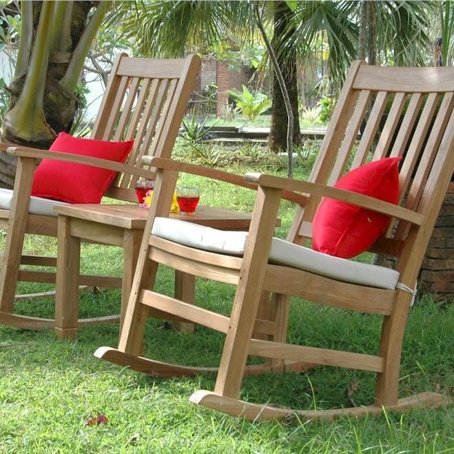 Anderson Teak Palm Beach 2 Person Teak Patio Rocking Chair Set Bbqguys In 2020 Outdoor Furniture Sets Rocking Chair Set Patio Rocking Chairs