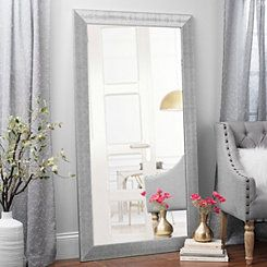 Textured Silver Framed Mirror, 38x68 in.