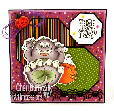 """Art Impressions Rubber Stamps: """"My Feet Set"""" (#4680) ... Ai Shakers ... handmade card. Halloween, monster, jack-o-lantern, trick or treat. spiders, pumpkins"""