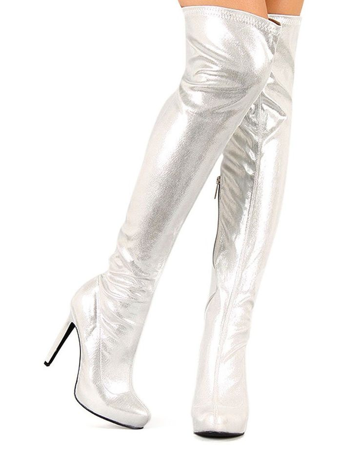 Get your sexy on with these exotic, metallic boots. They will fit over the knee or thigh high depending on your height. Perfect for clubwear, dancers, costumes or just a hot night on the town. Featuring almond toe front, faux leather upper, stiletto heel, and finished with partial side zipper for easy on/off.