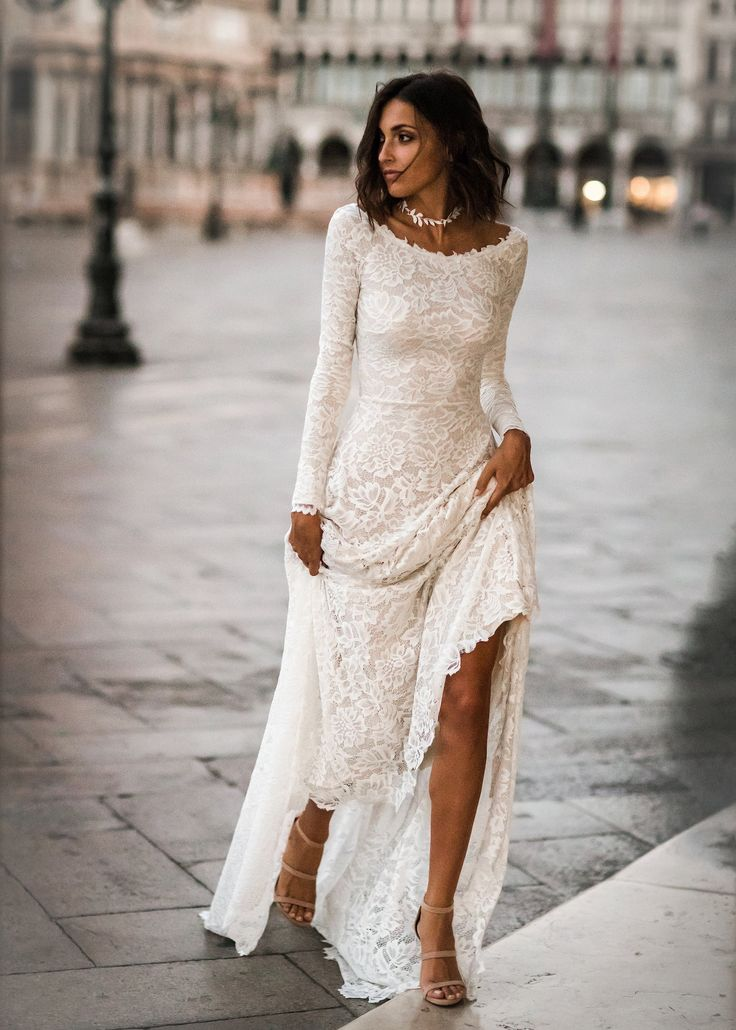 Long Sleeve Wedding Dress, Lace Long Sleeves, Boho Wedding Dress, Lace Wedding Dress, Low Back Wedding Dress, Scoop Back Dress - Jade Dress 1