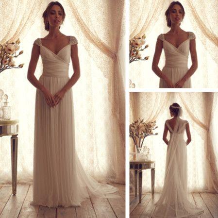 Simple White Beach Wedding Dresses Style 2014 Bridal Dresses Open Back vestidos de casamento