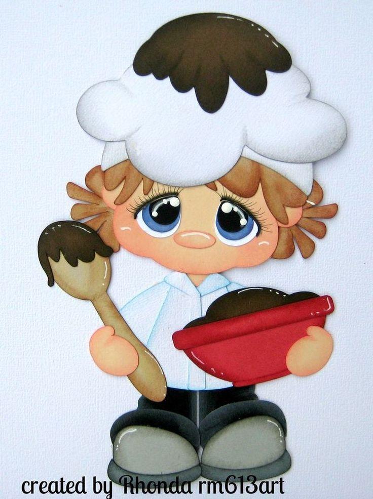 Baking girl paper piecing premade scrapbook page Rhonda rm613art