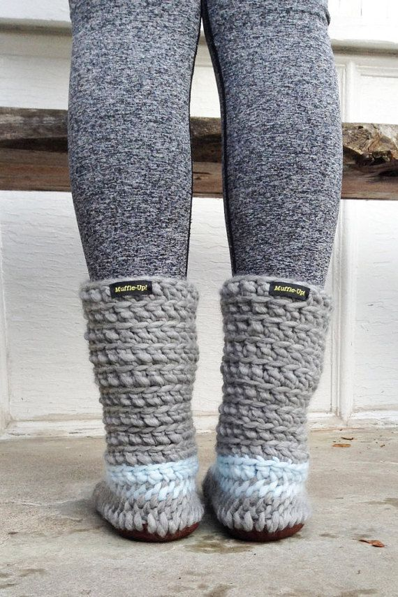 Cute Slipper Boots Grey And Blue Slipper Boots Womens