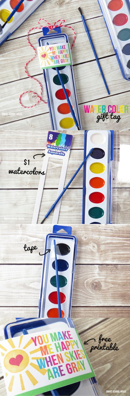 You Make Me Happy When Skies are Gray. Watercolor gift tag printable. A perfect non candy Valentine's Day, St. Patrick's Day, or party favor idea.
