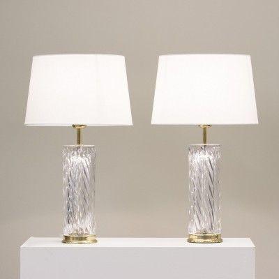 Kristall Tischlampen von Olle Alberius für Orrefors, 1970er, 2er Set 2