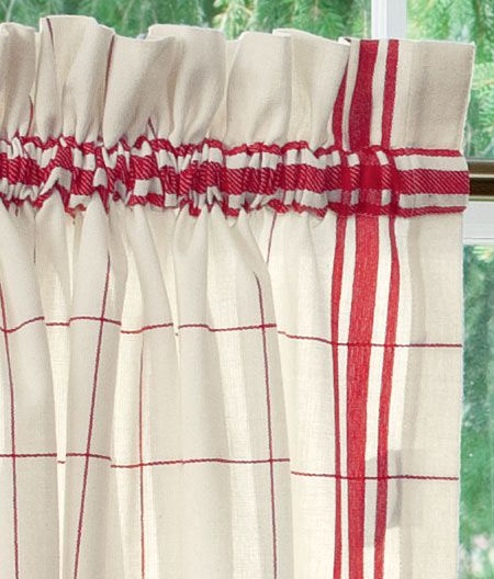 Red Windowpane Plaid Tier Curtains