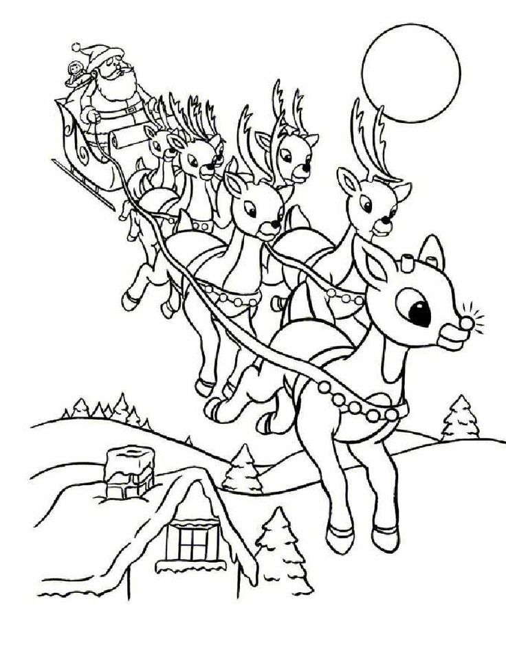 Online Rudolph And Other Reindeer Printables Coloring Pages