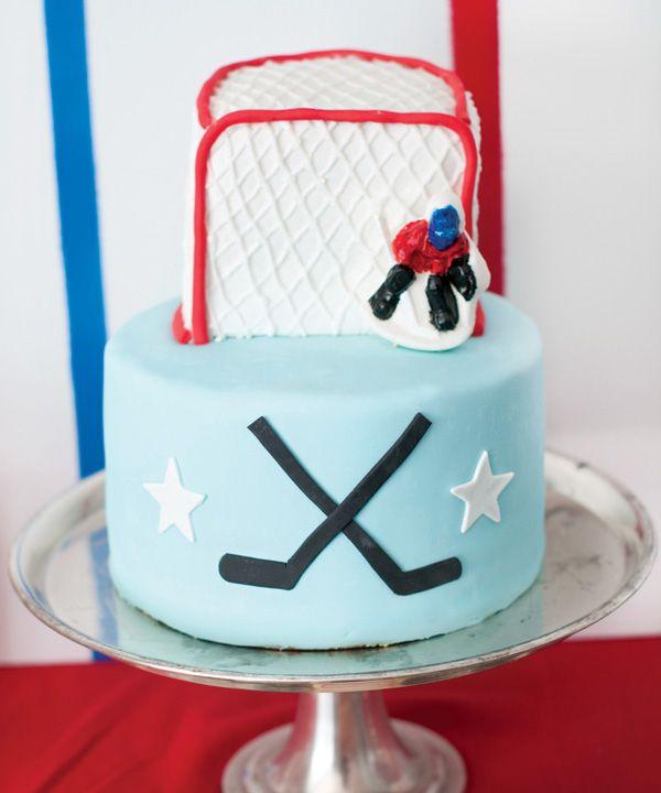 Hockey birthday cake (with a painted chocolate goalie)