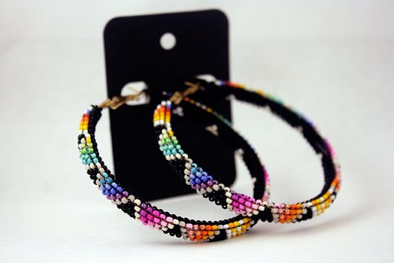 Black BIG TRIANGLE Mixed Rainbow Native American Hoop Earrings on Etsy, $55.00