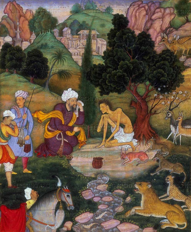 Salim tells Majnun of his mother's death, 1595. The ematiated Majnun,wearing a loincloth, is surrounded by the beasts of the forest. From the story Layla and Majnun by the poet Nizami. ID: Or 12208, fol. 153 verso.  The British Library, London, Great Britain