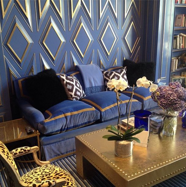 Blue And Gold Living Room Features Gold Geometric Trim On Blue Walls  Framing Blue And Gold Velvet . Part 15