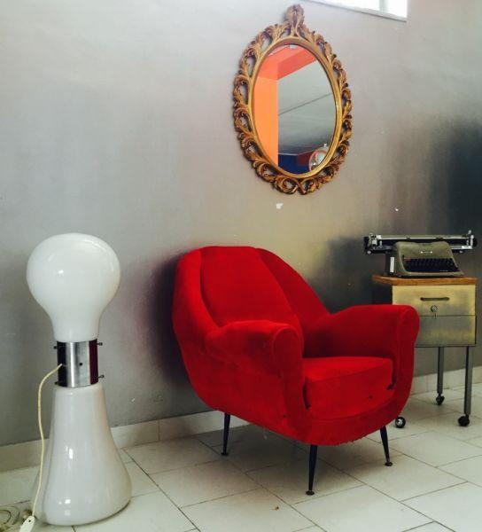 Poltrona sedia chair velluto design anni '50 Radice Minotti VINTAGE MODERNARIATO
