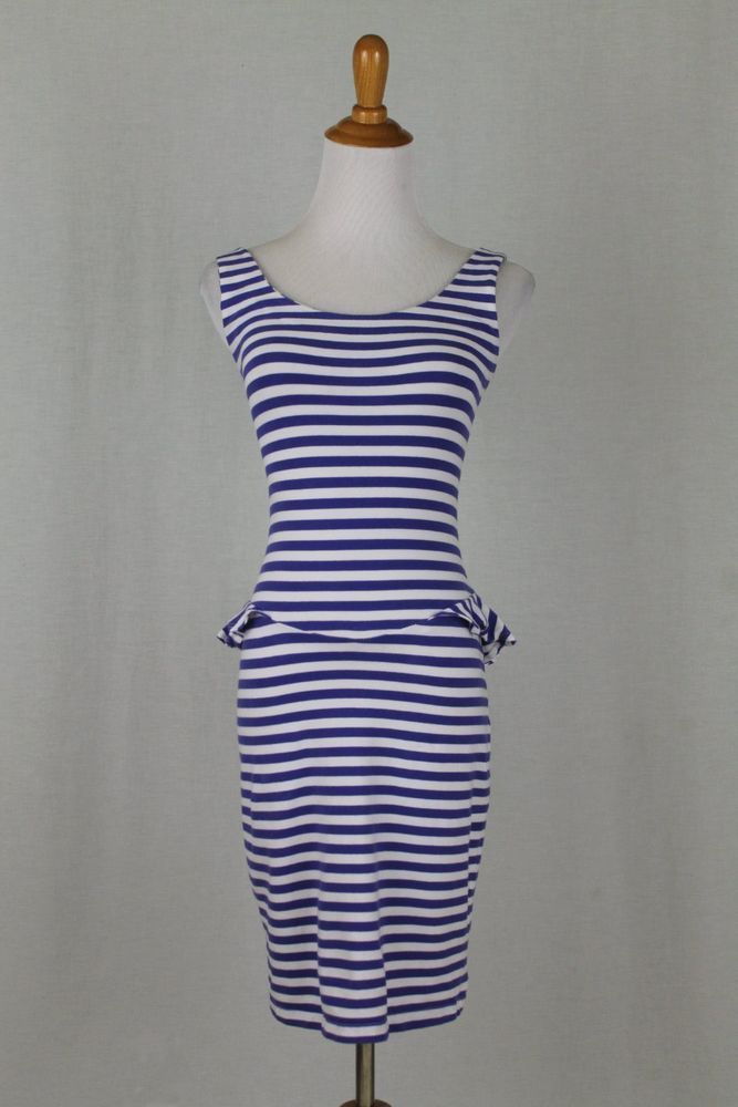 Vintage Betsey Johnson Collection Blue Nautical Stripe Bodycon Peplum dress P #BetseyJohnson #StretchBodycon #SummerBeach