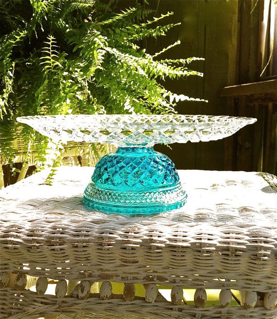 Elegant 14 Cake Stand with a Crystal Clear Aqua Base by MarshHome, $48.00
