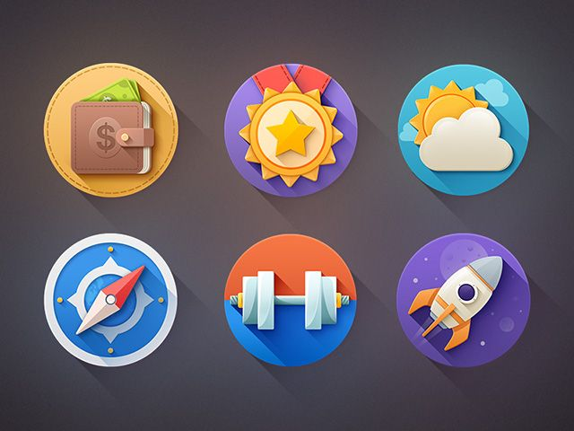 A small set of 6 flat icons with long shadows. Free PSD created and released by Sam Mountain.