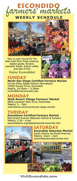 Escondido Farmers' Markets: Four days a week residents can visit nearby farmers markets for fresh food, flowers, and vegetables. Click image for other shopping in Escondido.  #Escondido #farmers-market