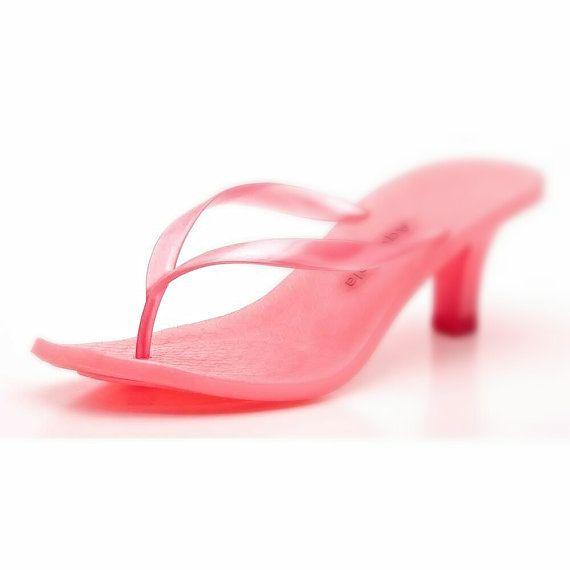 Pink Kitten Heels Flip Flops