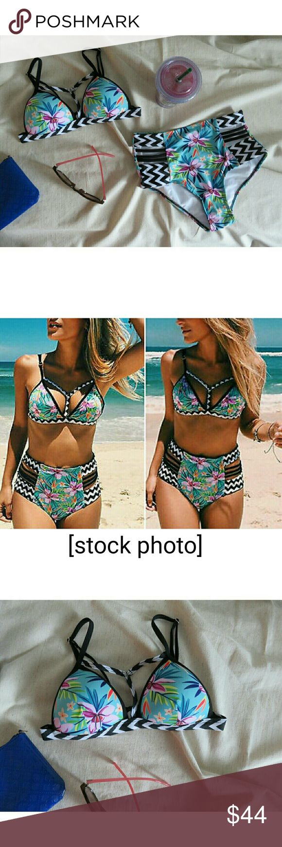 "NWT Caged Hi Rise Floral Bikini Set/2 Piece Super cute tropical flower pattern in aqua, turquoise, purple, yellow, orange, green, w/black & white chevron trim. High waist bikini bottom has black cage at hips, bikini top has cage around neckline. New w/ boutique tags/ never worn. Fully padded cups w/push up. Metal clasp at back, hygiene lining intact. Bottom fits size XS/2 best, top XXS/00. Measures lying flat (bottom) 12.5"" across waist, 5"" rise, 14"" across hips. (Top) about 26"" across band…"