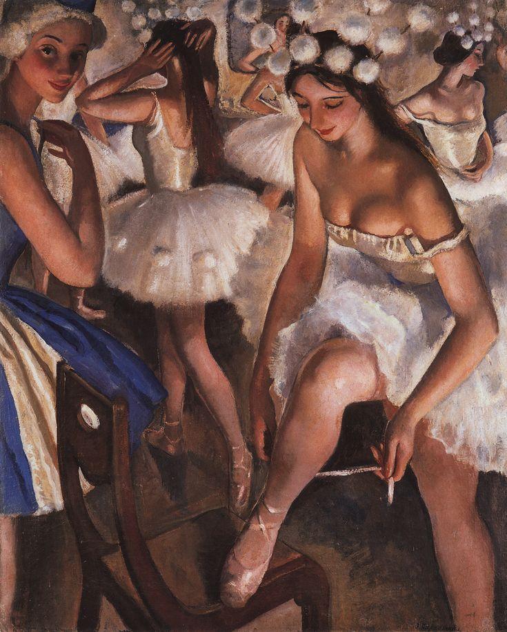 Зинаида Евгеньевна Серебрякова. Балетная уборная. Снежинки (Балет «Щелкунчик»)