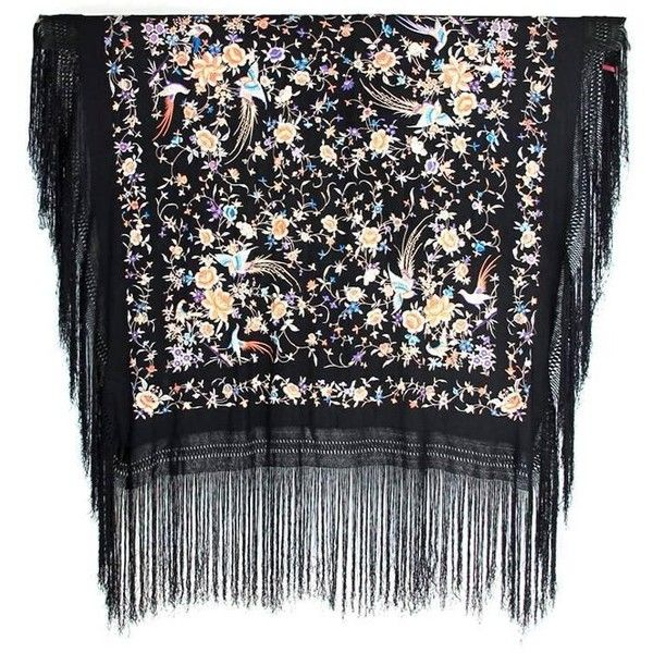 Preowned 1920s Hand Embroidered Canton Silk Shawl (74.630 RUB) ❤ liked on Polyvore featuring accessories, scarves, black, pure silk scarves, embroidered shawl, crochet scarves, fringe shawl and crochet shawl