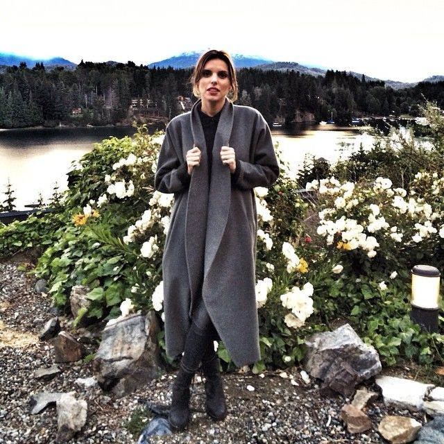 Claudia in Patagonia, Argentina wearing her Datura Grey Wool Escape Coat