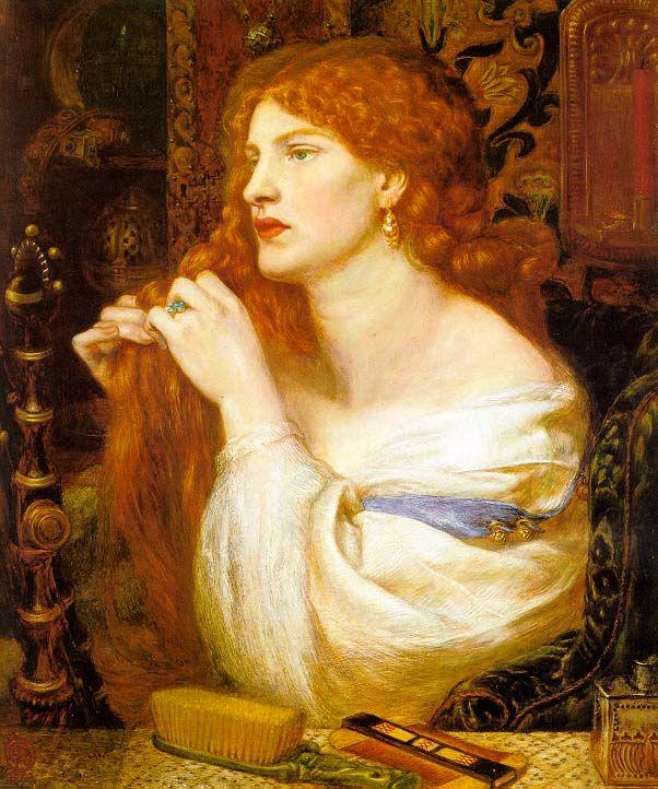Fazios Mistress, 1863.D.G.Rossetti   (loose, luxuriant hair was an emblem of female sexuality in Pre-Raphaelite painting...[Here] we may well have a clue to the rippling effect of so much Pre-Raphaelite hair.  After washing, the tresses were plaited while still wet--as Fanny is shown doing--and then allowwed to dry, creating a naturally crimped look Marsh 23.)