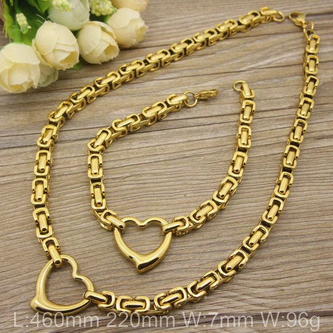 Find More Jewelry Sets Information about Stainless Steel  Vintage Jewelry Imitation love gold Color Bracelet +Necklace Supernova  Sales SGEABQDD,High Quality necklace agate,China bracelet fashion Suppliers, Cheap necklace craft from JOYAS STAINLESS STEEL JEWELRY on Aliexpress.com