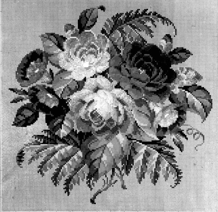 DigitaltMuseum - Broderimønster håndkolorert på rutepapir, antagelig fra andre halvdel av 1800-tallet. Tyskland.