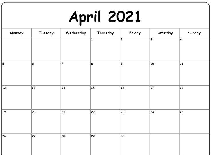 April 2021 Printable Calendar Word Excel Template Download ...