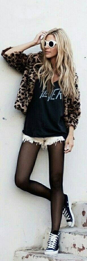 Rocker chic featuring a Slayer shirt