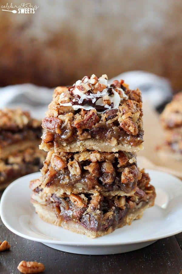 Chocolate Coconut Pecan Pie Bars