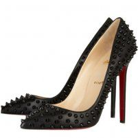 Christian Louboutin Pigalle Spikes 120 Leather Pumps Black, Cheap Louboutins Women Shoes Outlet Online UK WIth 70% Off Sale.