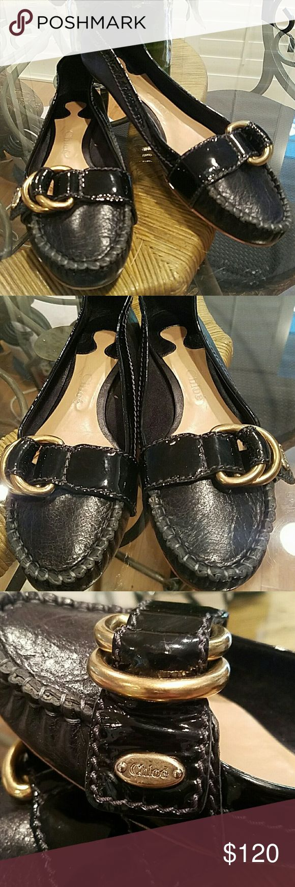Chloe black leather flats, Sz 38 Black leather round-toe with patent leather trim throughout, gold-tone D-ring closure embellishment Comfortable! Great condition! Chloe Shoes Flats & Loafers