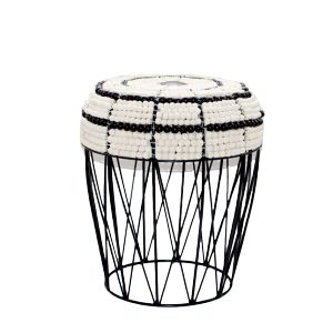 Drum Stool - White/Black -    Unique wire stool with  wooden beaded top in black and white. Handmade. Available at sourced4you.com.au