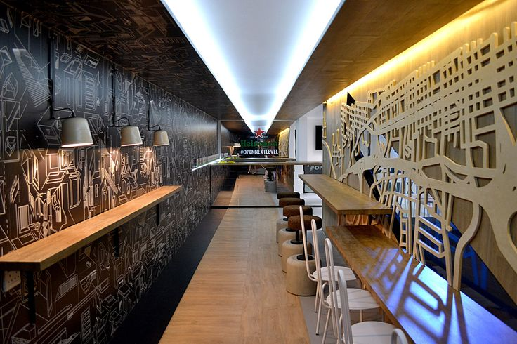 Atang's Charcoal Construct wallpaper was used in the was the perfect choice for the Heiniken Sleek Project with Leg Studio's.