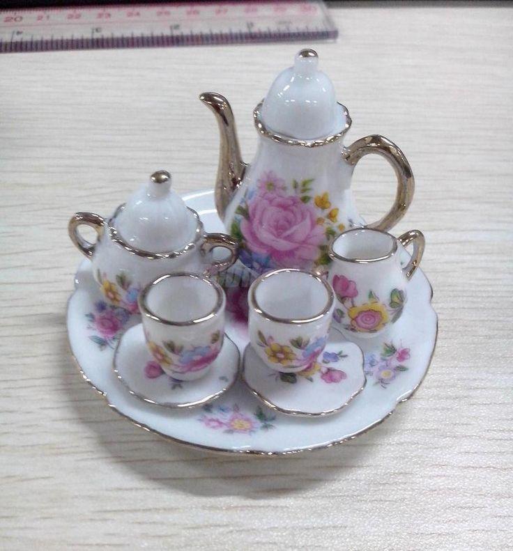 8p Doll House Miniature Tea pot Cup Plate Set Porcelain Ceramic Pink Rose Flower #Unbranded
