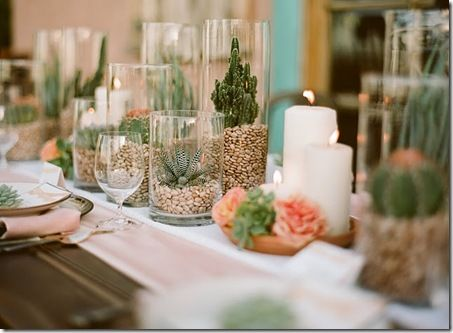 centro de mesa con CACTUS!?   la flor del desierto es hermosa tambien !! puedes crear un ambiente muy diferente y elegante si sabes como decorarlo :)