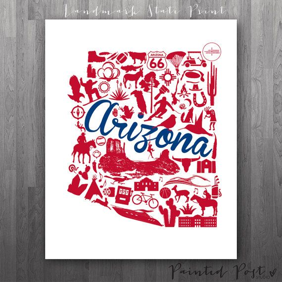 Tucson Arizona Landmark State Giclée Print  8x10   by PaintedPost, $15.00 #paintedpoststudio - University of Arizona - Wildcats - Arizona Map Print  What a great gift Idea! So perfect for dorm decor! :)