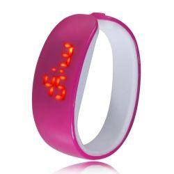LED Fashion Cartoon Dolphin Style Waterproof Unisex Adults Children Bracelet Watch Rose Red