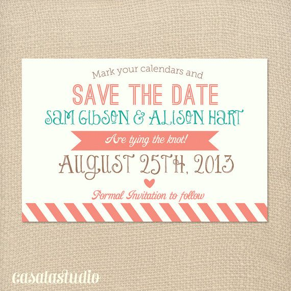Rustic Vintage Turquoise & Coral Save the Date by casalastudio, $15.00