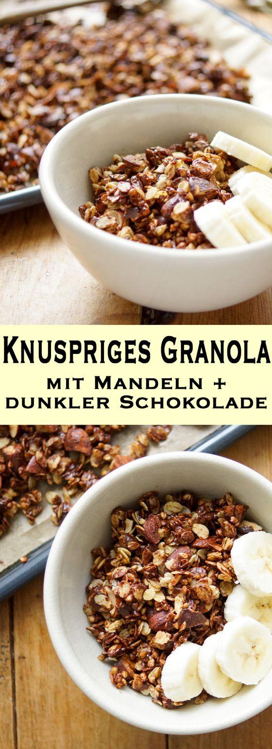 Ein Rezept für ein selbstgemachtes Gerste Granola mit Mandeln und dunkler Schokolade. Es enthält unglaublich viele Nährstoffe und ist damit ein perfektes und gesundes Frühstück. Einfache Gesunde Rezepte - Elle Republic #granola #knüspermüsli #buchweizen #gerste #mandeln #schokolade #dunklerschokolade #gesund #einfach #schnell #rezept #vegan #vegetarisch #frühstück #healthy