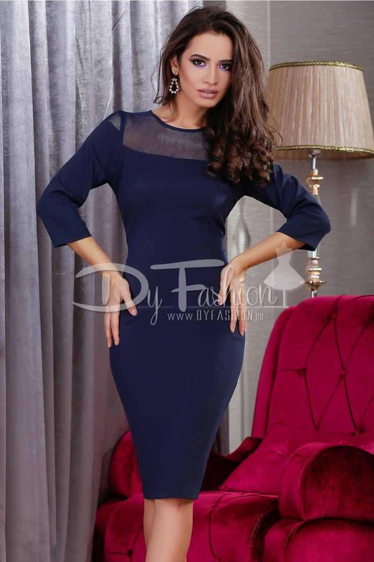Rochie Dark Blue Fashionista Colectia Rochii office de la  www.rochii-ieftine.net